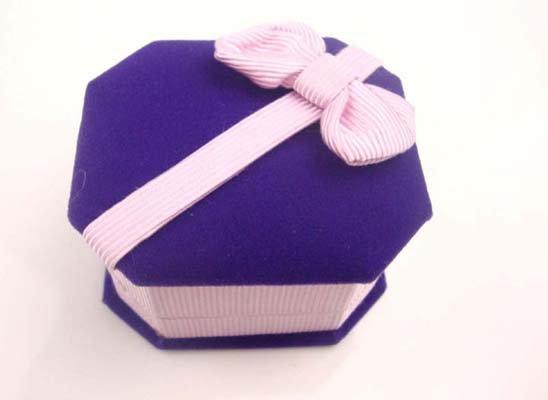 10pcs Blue Jewelry Display Velvet Ring Stud Box Gift Box Case BOW purple
