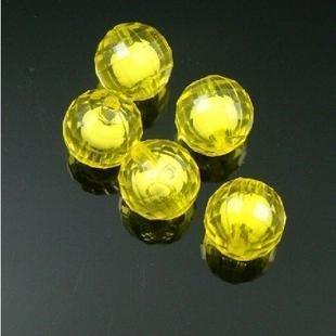wholesale 500g Acrylic Bead Round White Core Inside Dye / Craft Jewelry accessory Lantern Sky Yellow