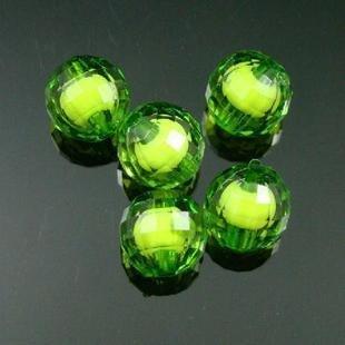 500g Acrylic Round Bead White Core Inside Dye / Craft Jewelry accessory Lantern Sky Green