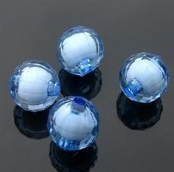 500g Acrylic Bead Round White Core Inside Dye / Craft  Jewelry accessory Lantern Sky Blue