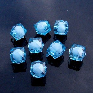 500g Acrylic Square Bead White Core Inside Dye / Craft  Jewelry accessory Lantern Sky Blue