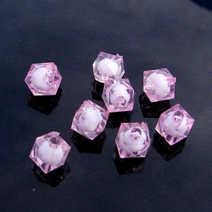 500g Acrylic Square Bead White Core Inside Dye / Craft  Jewelry accessory Lantern Pink