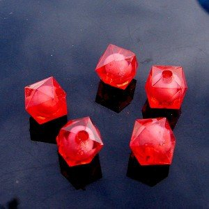 500g Acrylic Square Bead White Core Inside Dye / Craft  Jewelry accessory Lantern Red