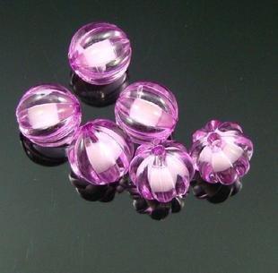 500g Acrylic Pumpkin Bead White Core Inside Dye / Craft  Jewelry accessory Lantern Pink