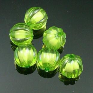500g Acrylic Pumpkin Bead White Core Inside Dye / Craft  Jewelry accessory Lantern Green