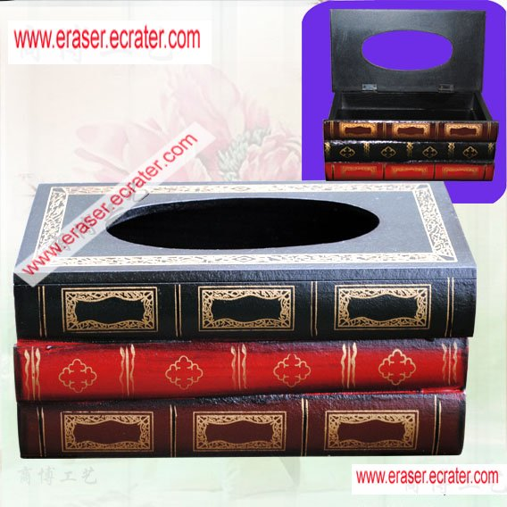Wooden Stack Book Tissue Box Holder Gift/Decor b3