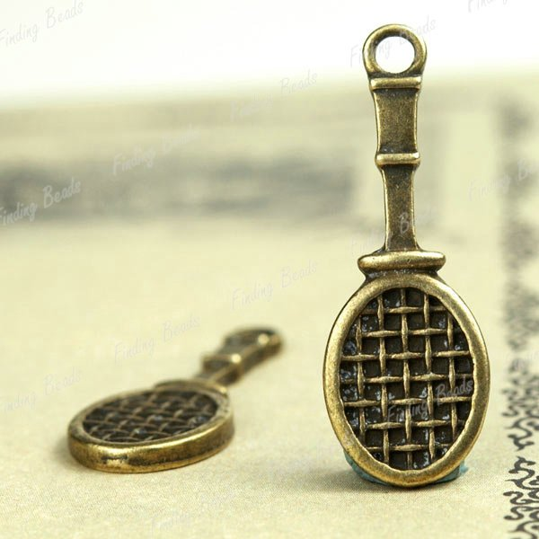 500XDollhouse miniature toy Tennis Racket /jewelry Pendant metal alloy charm 28 x 10mm