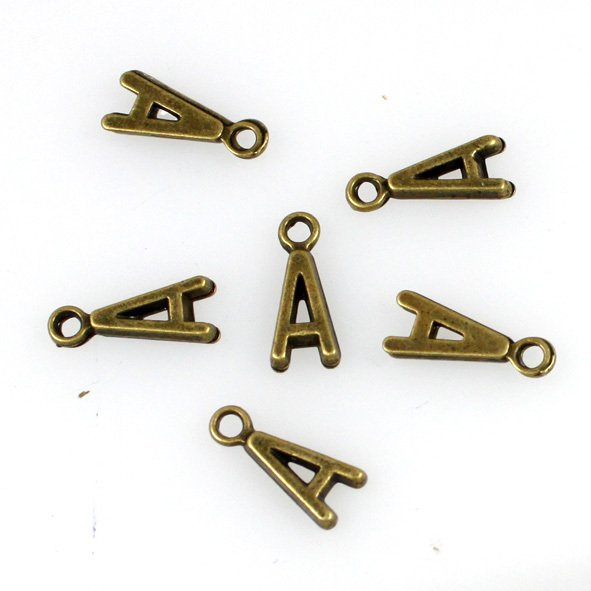 500pcs Alphabet A jewelry bracelet metal Charm Bead  16 X 6mm