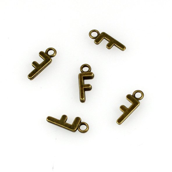 500pcs Alphabet F jewelry bracelet metal Charm Bead  16 X 6mm
