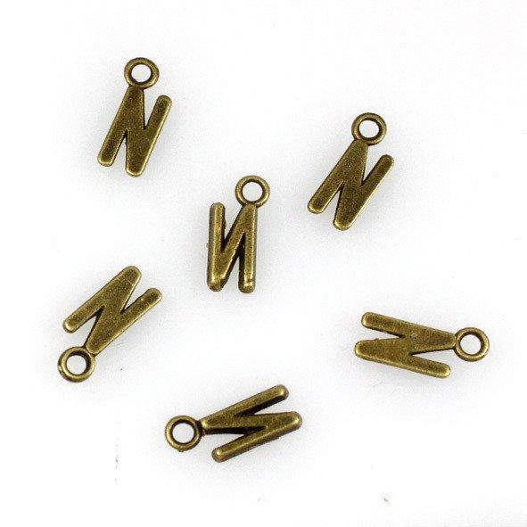 500pcs Alphabet N jewelry bracelet metal Charm Bead  16 X 6mm