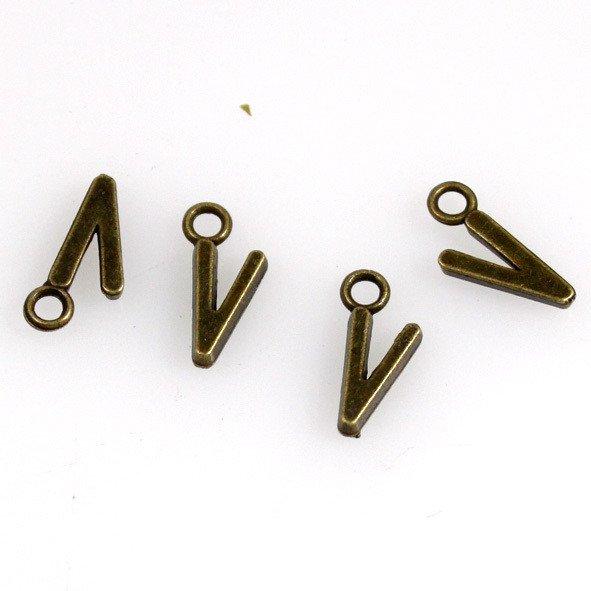 500pcs Alphabet V jewelry bracelet metal Charm Bead  16 X 6mm