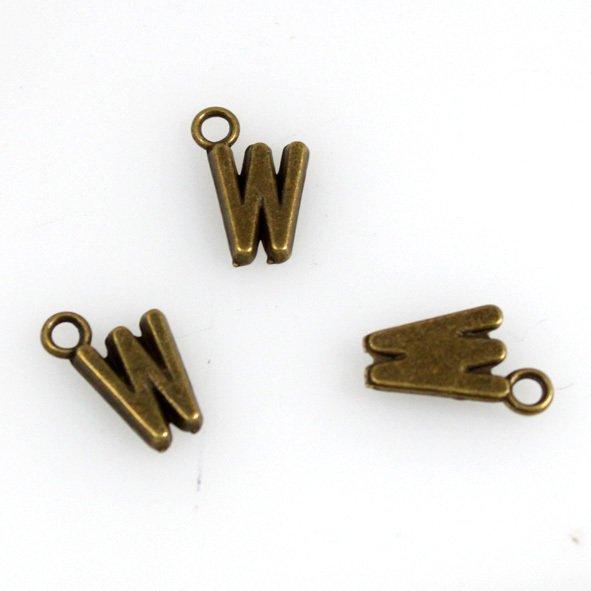 500pcs Alphabet W jewelry bracelet metal Charm Bead  16 X 6mm