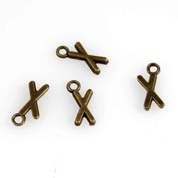 500pcs Alphabet X jewelry bracelet metal Charm Bead  16 X 6mm