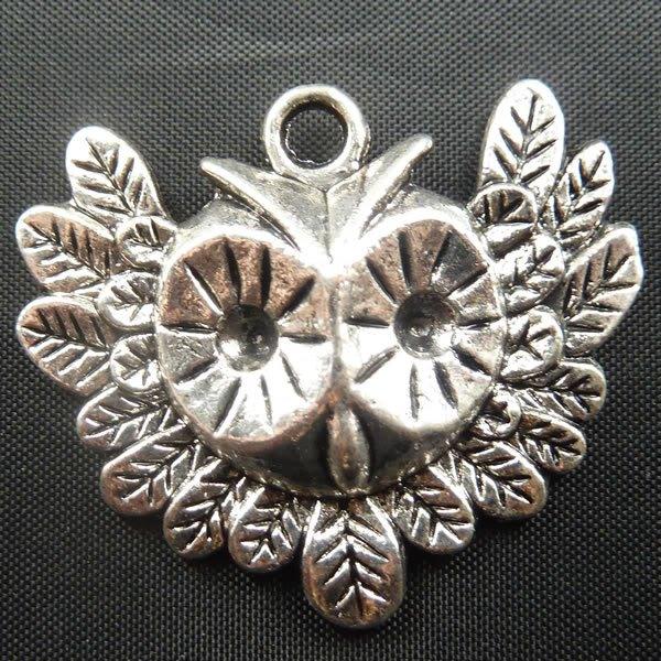 100pcs Owl jewelry bracelet metal Charm Bead  35 X 30mm