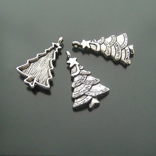 200XDollhouse xmas Christmas Tree  /jewelry Pendant metal alloy charm 28 x 25mm CM892