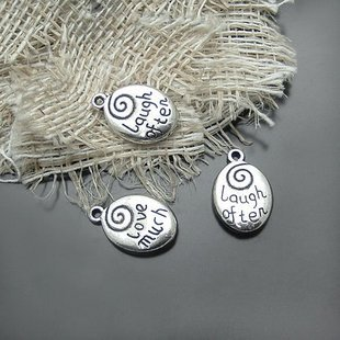 200XDollhouse Love Much Laugh Often  /jewelry Pendant metal alloy charm 20 x 13mm CM963
