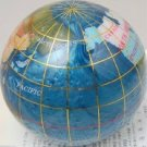 World Globe Global Map Stone Paperweight Blue