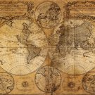Antique Navigation World Map Cotton Canvos Map Retro Map 100 x 81cm