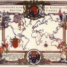 Antique Navigation World Map Cotton Canvos Map Retro Map 42 x 30cm