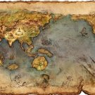 Antique Literature World Map Cotton Canvos Map Retro Map 32 x 48cm