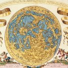 Antique Moon World Map Cotton Canvos Map Retro Map 45 x 40cm