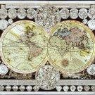 Antique Navigation World Map Cotton Canvos Map Retro Map 108 x 92cm
