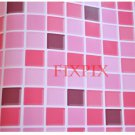 Mosaic Sticker Tile Transfer Bathroom Kitchen 50cm x 50cm Pink