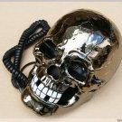Skull Shape Novelty Telephone Flashing Phone Black