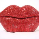 Rhinestone Crystal Mouth Lips Kiss Tongue Novelty Retro Corded Telephone Red