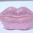 Rhinestone Crystal Mouth Lips Kiss Tongue Novelty Retro Corded Telephone Pink