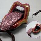 Crystal Rhinestone Mouth Lips Kiss Tongue Novelty Retro Corded Telephone