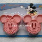 Set Mickey Mouse & Minnie Cookie Cutter Mold + Stamp
