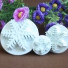 Set of 3 Snowflake Cookie Cutter Mold + Stamp