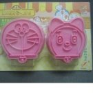Set of 2 Doraemon Cat Cookie Cutter Mold + Stamp