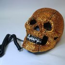 Crystal Rhinestone Skull Flash Telephone Unique Flash Eye Gold