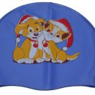 Kid Swimming Pool Dog Swim Sliccon Fabric Cap / Bathing Cap Blue