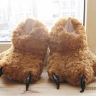 Adult Plush Monster Pola Bear Foot Paw Animal Claw Slipper Brown party
