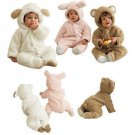 Lamb Sheep Bear Rabbit Animal Infant Todder Winter Fleece Romper Costume Outfit CL001