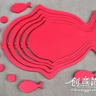 1 set 3D Solid fish wood Wall Stickers/Home red Decor