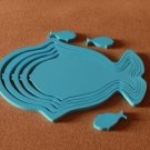 1 set 3D Solid fish wood Wall Stickers/Home blue Decor