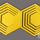 2 set 3D Solid hexagon wood Wall Stickers/Home yellow Decor