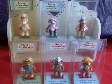 FULL SET - 6 Hallmark Merry Miniatures Bears with the wooden wall shelf hanger
