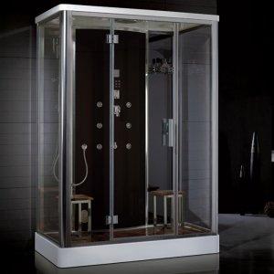 """59"""" EAGO Platinum DZ956F8 Steam Shower Enclosure Unit (Black Panel)"""
