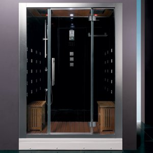 "59"" EAGO Platinum DZ972F8 Steam Shower Enclosure Unit (Black)"