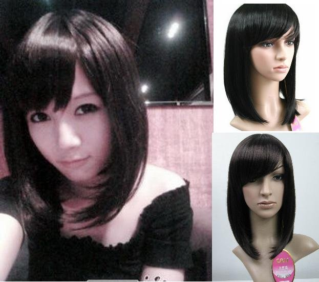 Woman  Short Dark Brown / Black  Fashion  Wigs With Wig Cap  WD04