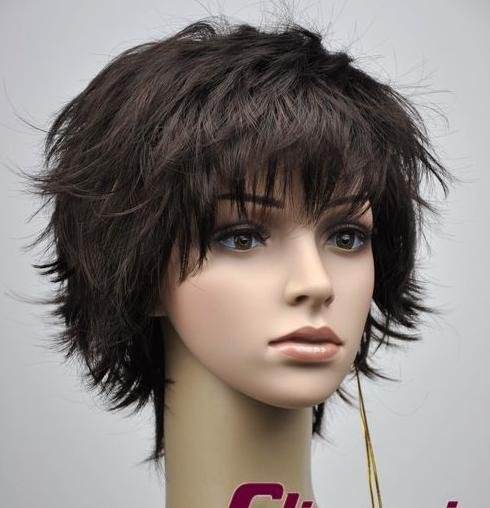 Woman Lady Short Dark Brown Wave Cosplay Party Hair wig wigs WD25