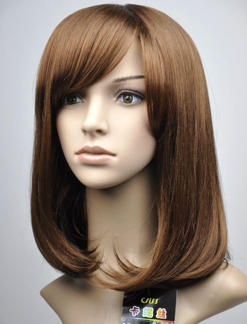 Woman Lady Light Brown Wave Cosplay Party Hair wig wigs WD26