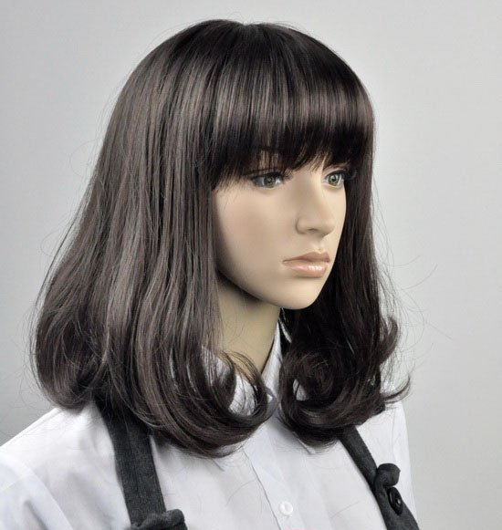 Medium Straight Cosplay Everyday Full Wigs With One Cap WD29