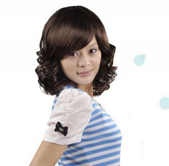 Woman Lady Dark Brown Wave Cosplay Party Hair Full Wigs WD37