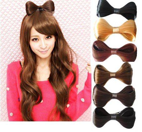 Girls Headband Hair Band Bowknot Butterfly Tie Hairpin Wigs Extension PP12